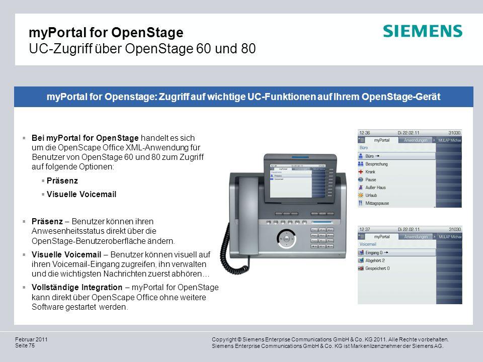 myPortal for OpenStage UC-Zugriff über OpenStage 60 und 80