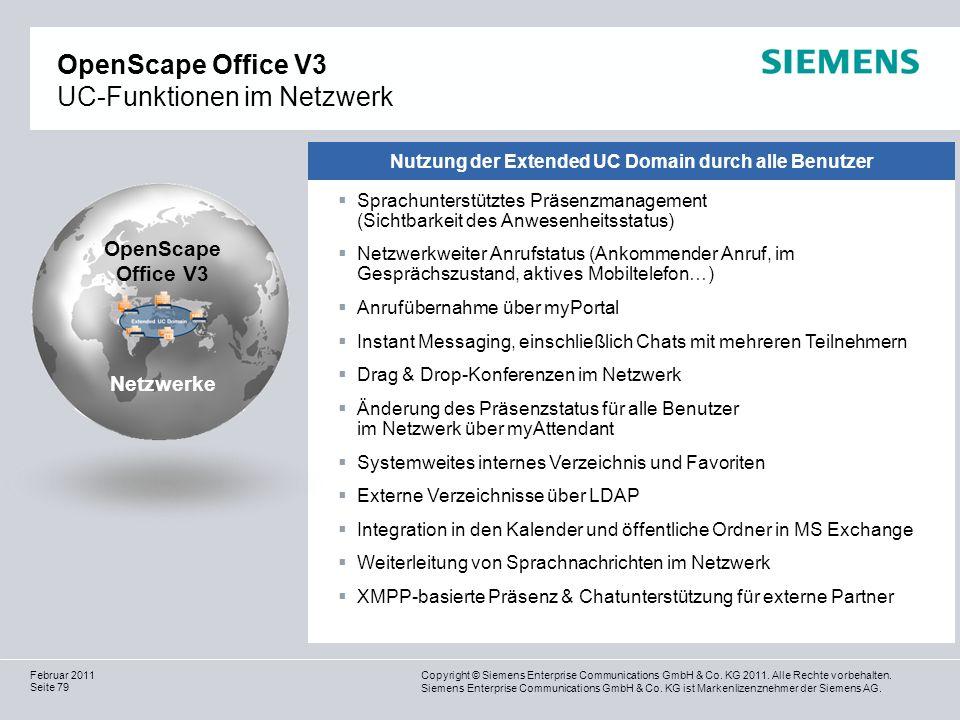 OpenScape Office V3 UC-Funktionen im Netzwerk