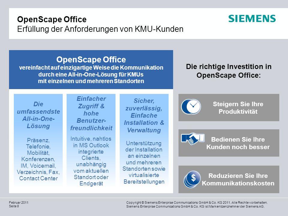 OpenScape Office Erfüllung der Anforderungen von KMU-Kunden