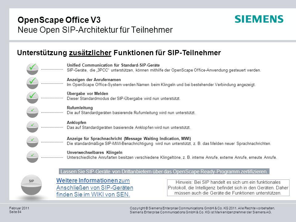 OpenScape Office V3 Neue Open SIP-Architektur für Teilnehmer
