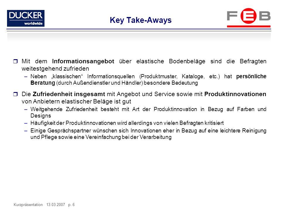 Key Take-Aways Mit dem Informationsangebot über elastische Bodenbeläge sind die Befragten weitestgehend zufrieden.