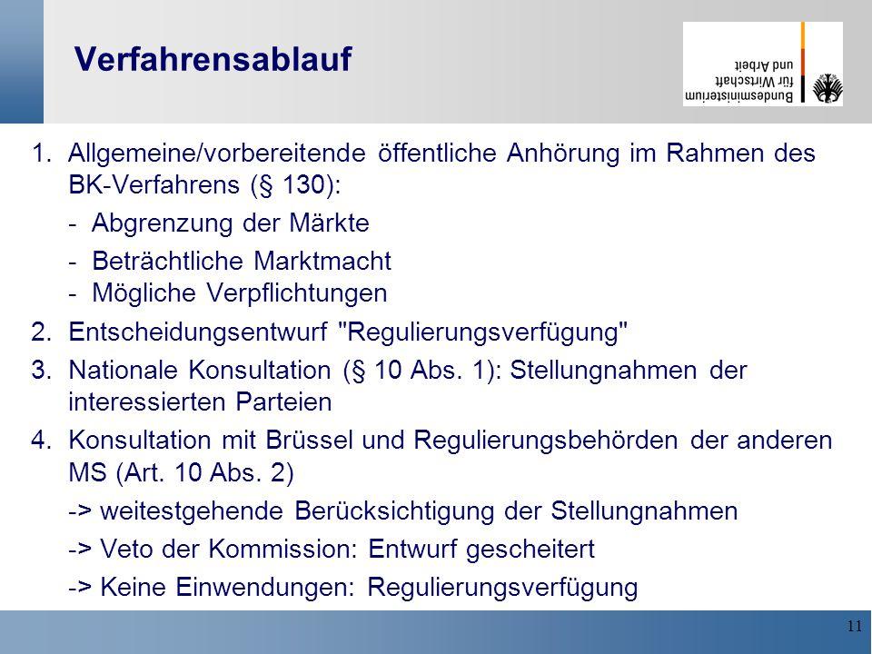 Verfahrensablauf1. Allgemeine/vorbereitende öffentliche Anhörung im Rahmen des BK-Verfahrens (§ 130):