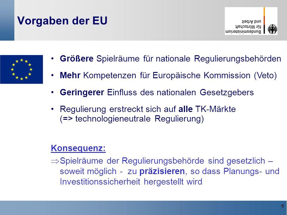 Vorgaben der EU Größere Spielräume für nationale Regulierungsbehörden