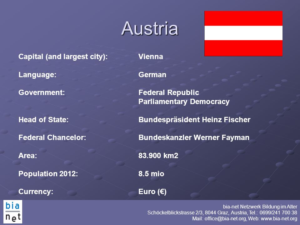 Austria Capital (and largest city): Vienna Language: German