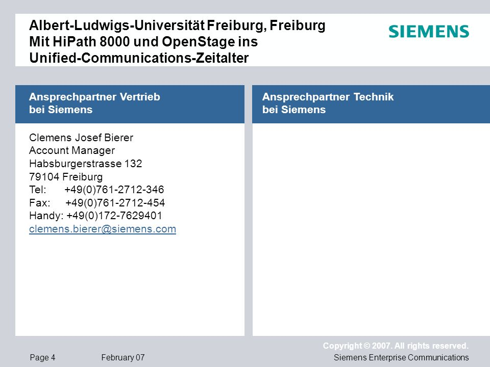 Ansprechpartner Vertrieb bei Siemens