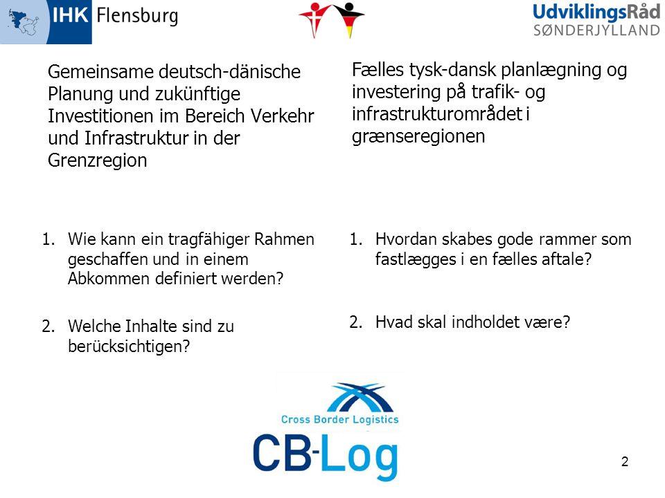 Gemeinsame deutsch-dänische Planung und zukünftige Investitionen im Bereich Verkehr und Infrastruktur in der Grenzregion