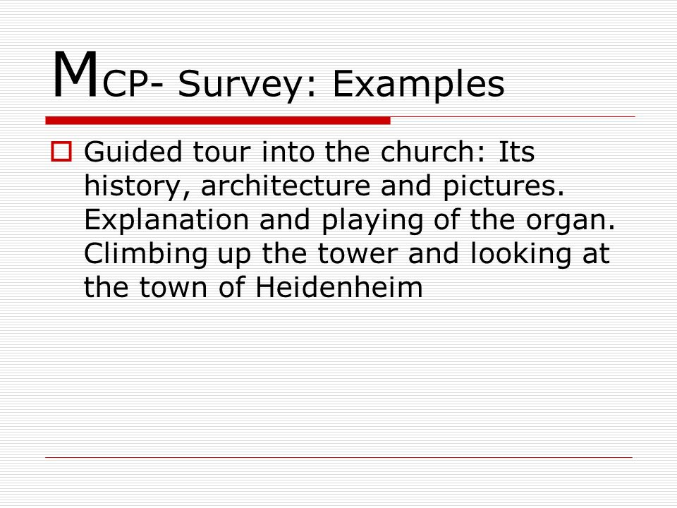 MCP- Survey: Examples