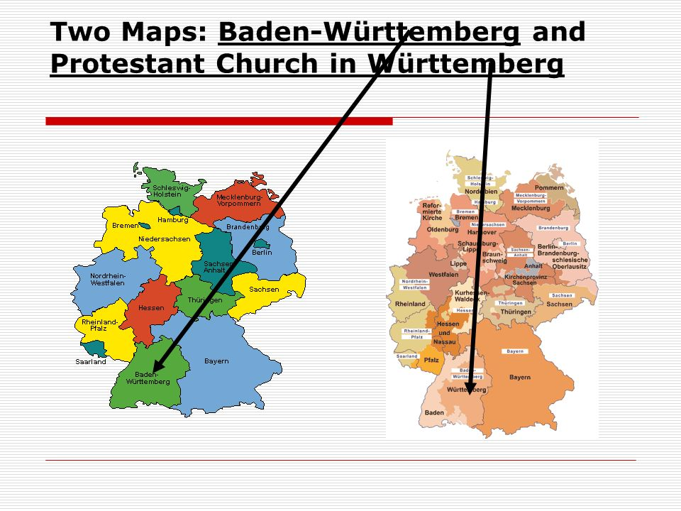Two Maps: Baden-Württemberg and Protestant Church in Württemberg