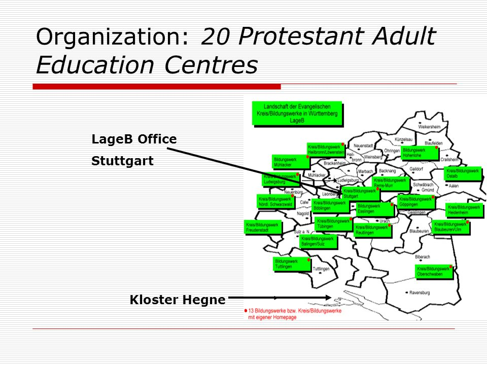 Organization: 20 Protestant Adult Education Centres