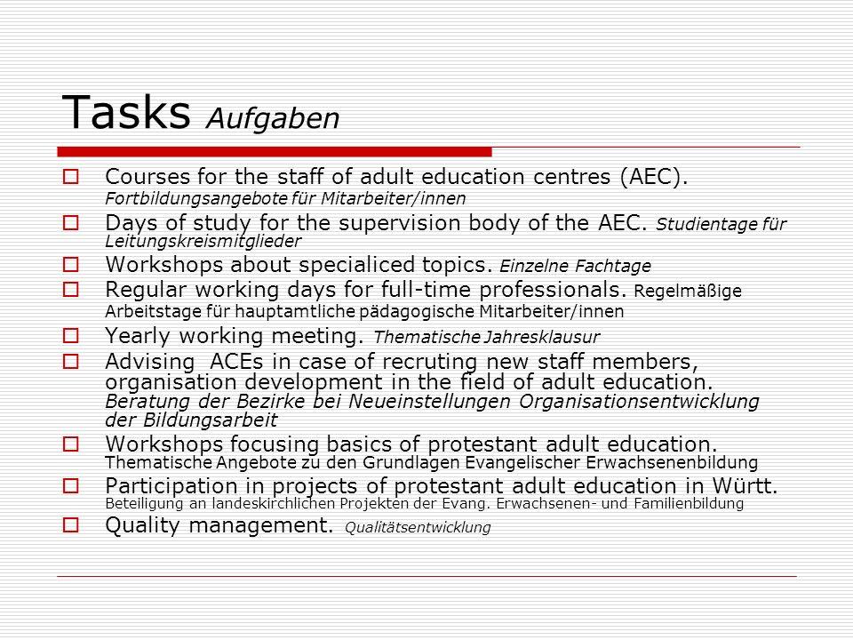 Tasks Aufgaben Courses for the staff of adult education centres (AEC). Fortbildungsangebote für Mitarbeiter/innen.