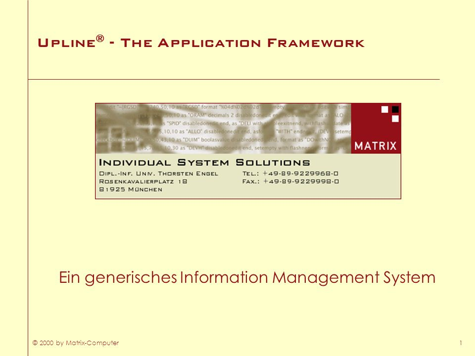 Upline® - The Application Framework