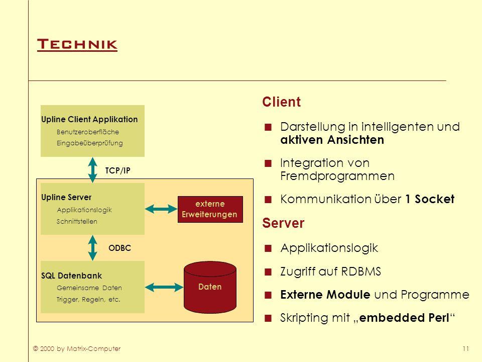 Technik Client. Darstellung in intelligenten und aktiven Ansichten. Integration von Fremdprogrammen.