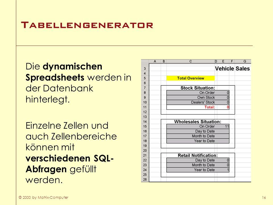 TabellengeneratorDie dynamischen Spreadsheets werden in der Datenbank hinterlegt.