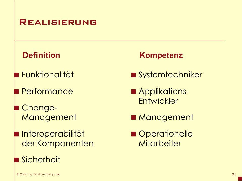Realisierung Definition Kompetenz Funktionalität Performance