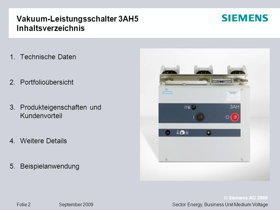 Vakuum-Leistungsschalter 3AH5 Inhaltsverzeichnis