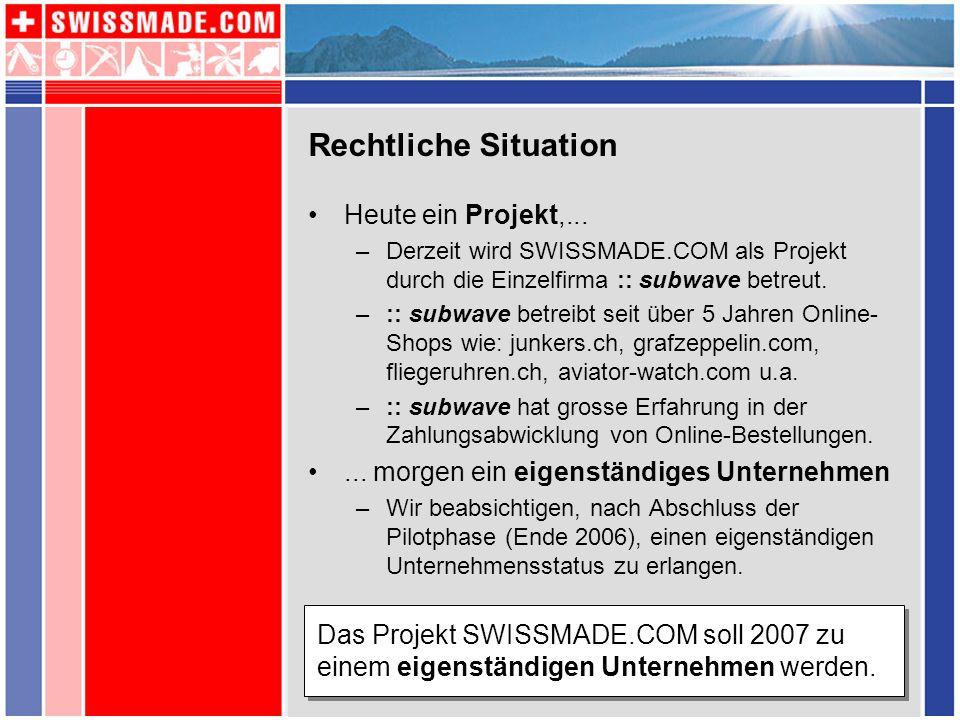 Rechtliche Situation Heute ein Projekt,...