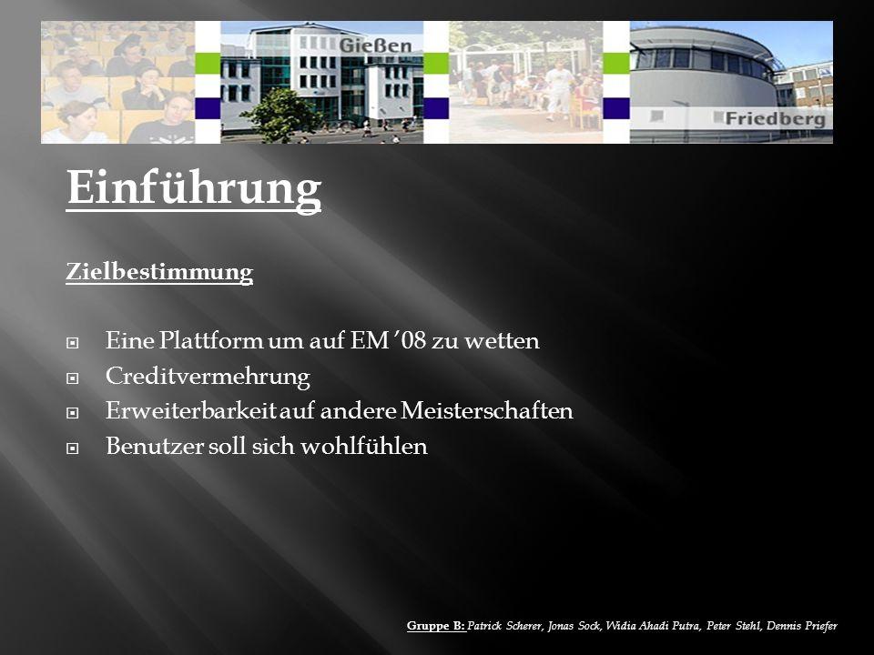 Einführung Zielbestimmung Eine Plattform um auf EM '08 zu wetten