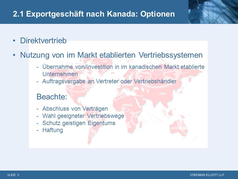 2.1 Exportgeschäft nach Kanada: Optionen