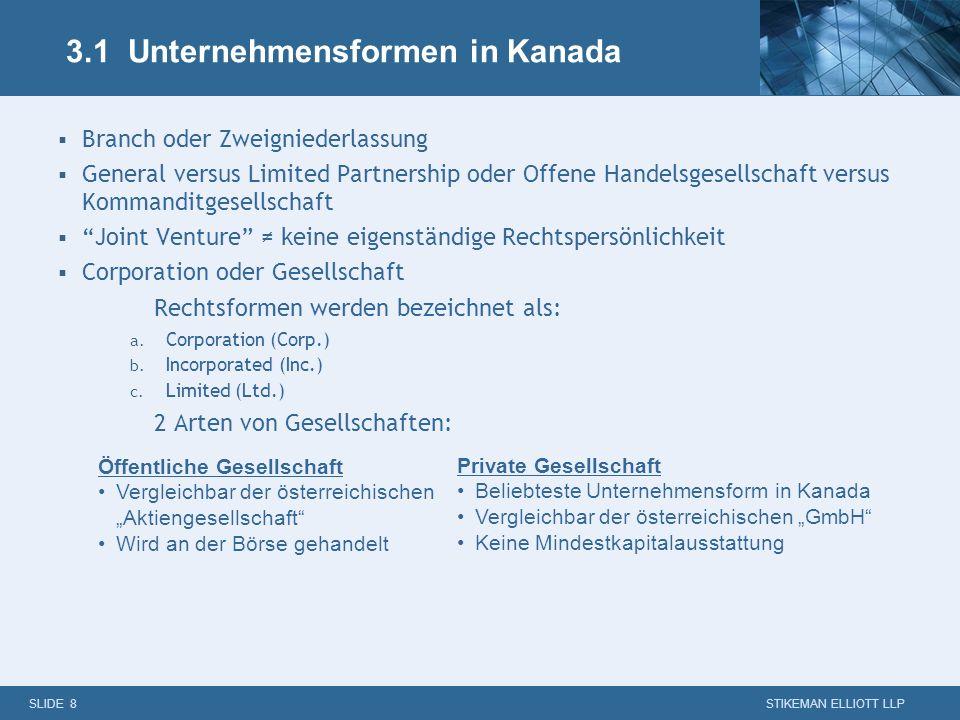 3.1 Unternehmensformen in Kanada
