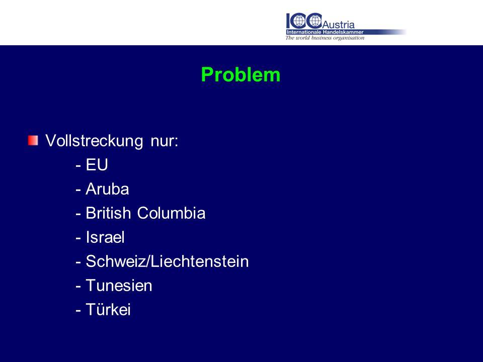 Problem Vollstreckung nur: - EU - Aruba - British Columbia - Israel