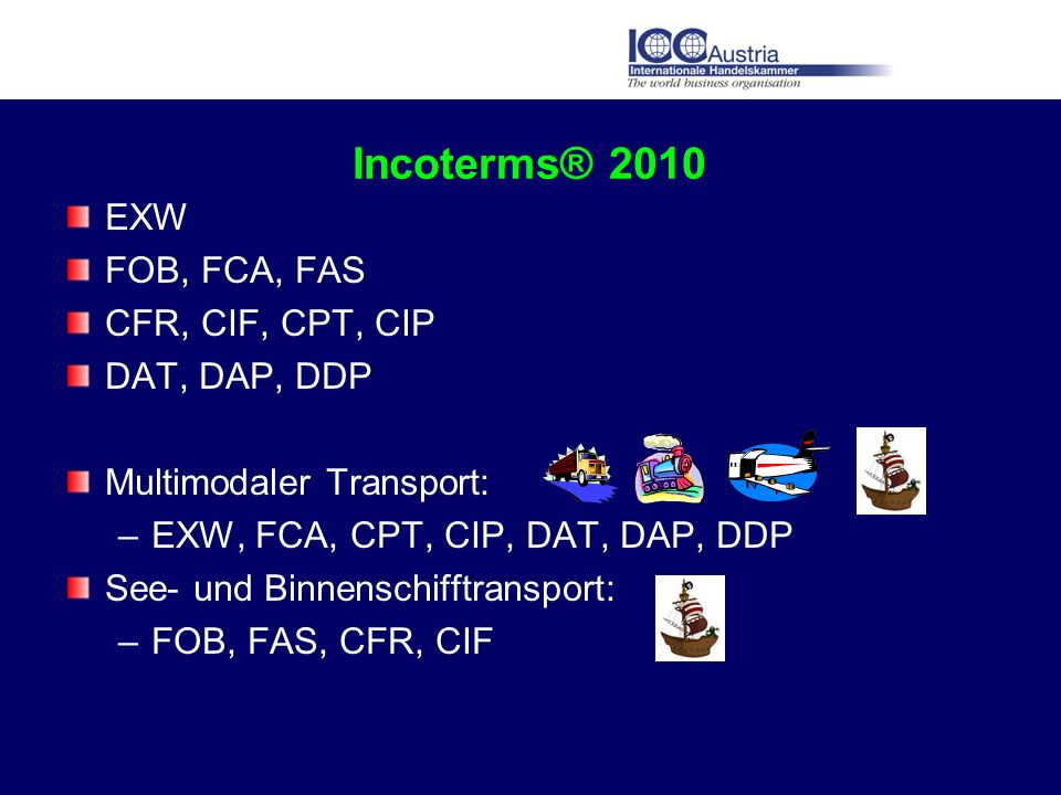 Incoterms® 2010 EXW FOB, FCA, FAS CFR, CIF, CPT, CIP DAT, DAP, DDP
