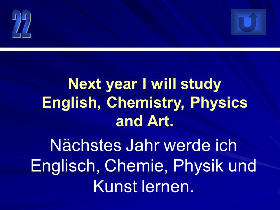 Next year I will study English, Chemistry, Physics and Art.