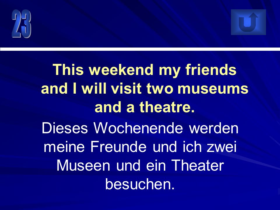 This weekend my friends and I will visit two museums and a theatre.