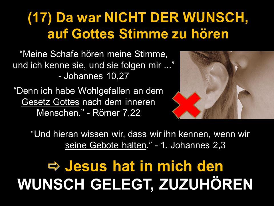 (17) Da war NICHT DER WUNSCH, auf Gottes Stimme zu hören