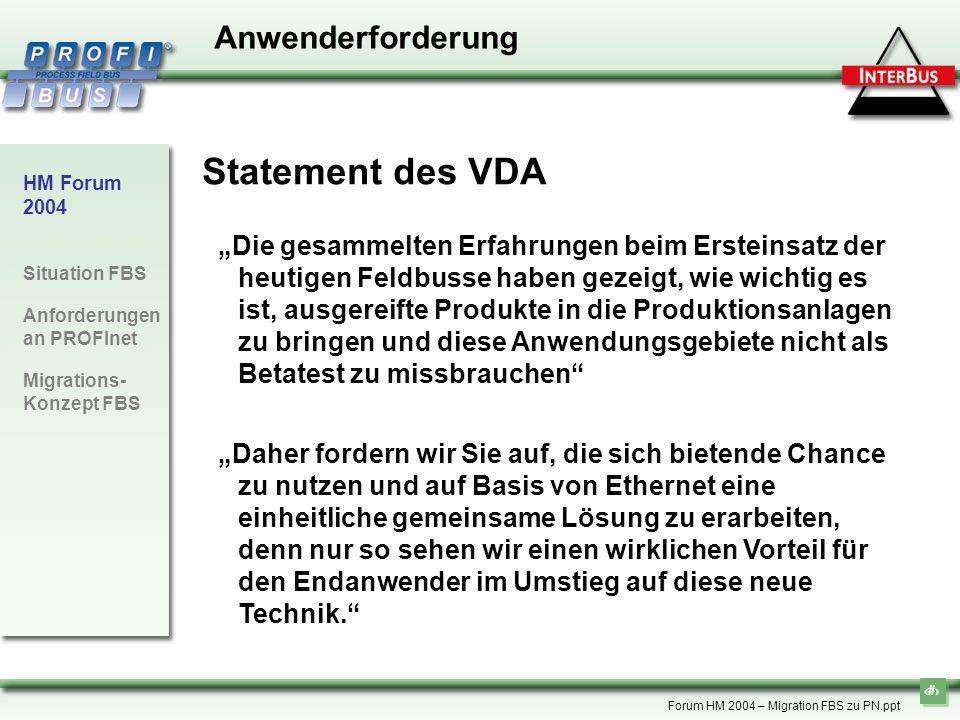 Statement des VDA Anwenderforderung