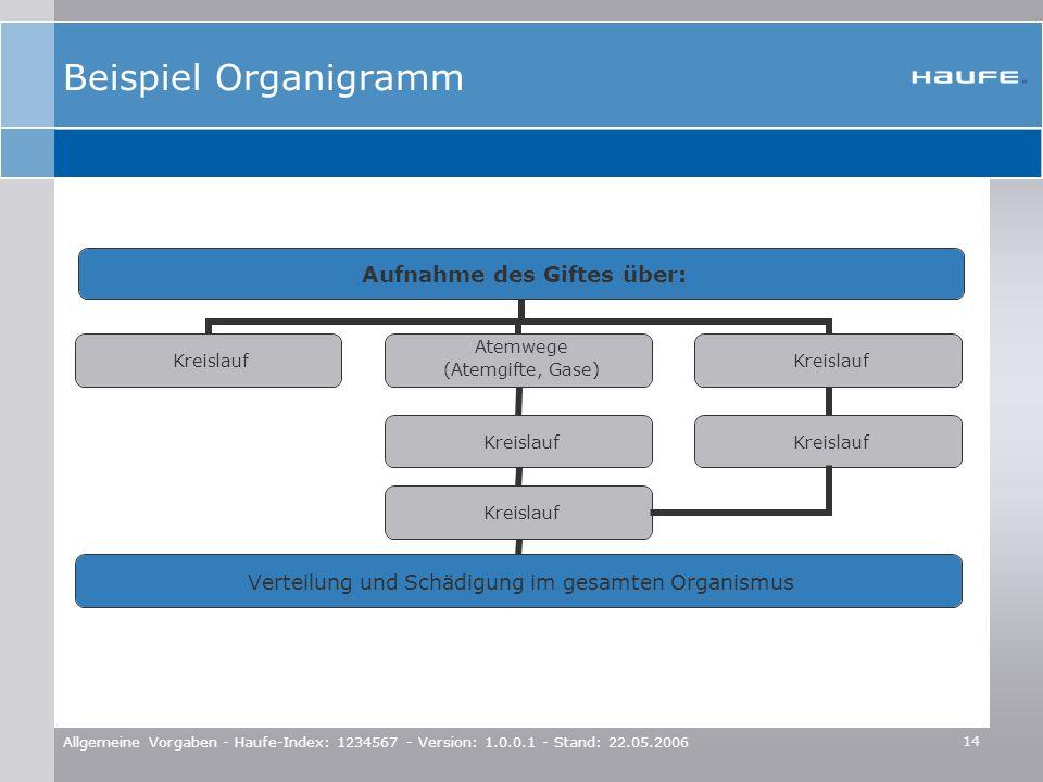 Beispiel Organigramm Allgemeine Vorgaben - Haufe-Index: 1234567 - Version: 1.0.0.1 - Stand: 22.05.2006.