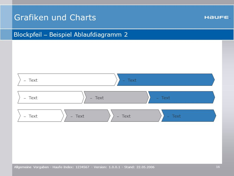 Grafiken und Charts Blockpfeil – Beispiel Ablaufdiagramm 2 Text Text