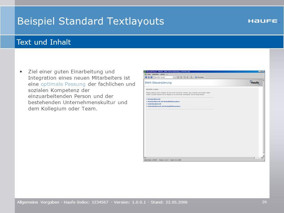 Beispiel Standard Textlayouts