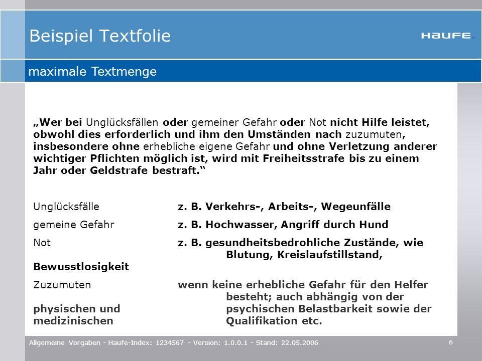 Beispiel Textfolie maximale Textmenge
