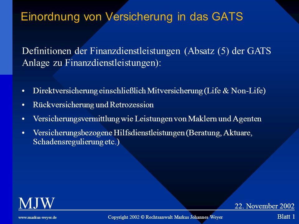 Einordnung von Versicherung in das GATS