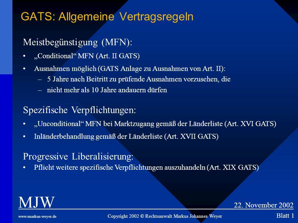 GATS: Allgemeine Vertragsregeln