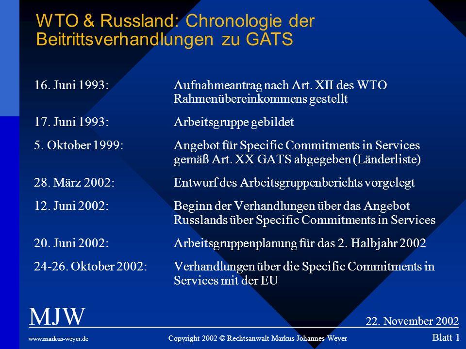 WTO & Russland: Chronologie der Beitrittsverhandlungen zu GATS