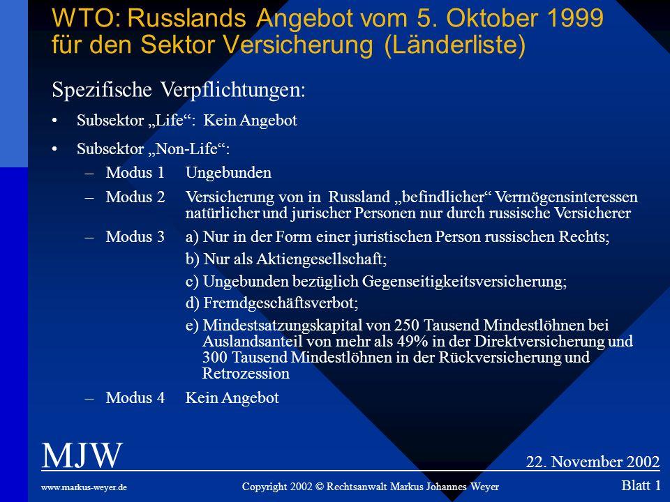 WTO: Russlands Angebot vom 5