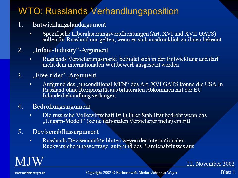 WTO: Russlands Verhandlungsposition