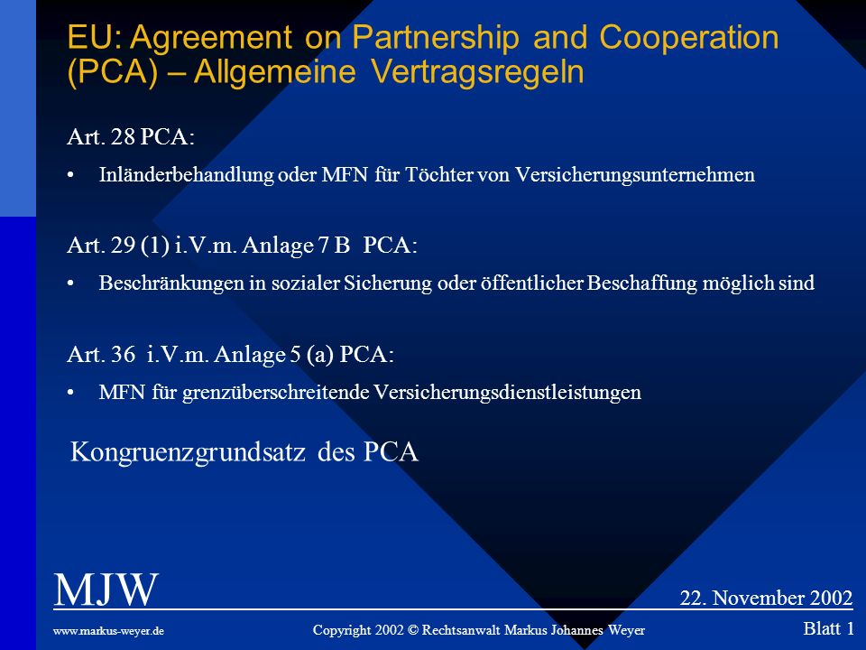 EU: Agreement on Partnership and Cooperation (PCA) – Allgemeine Vertragsregeln