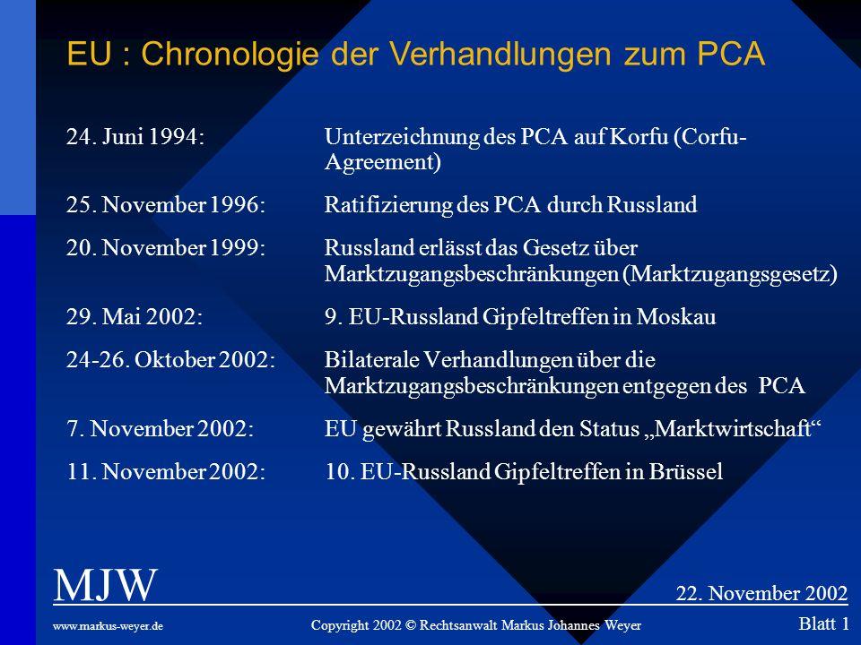 MJW 22. November 2002 EU : Chronologie der Verhandlungen zum PCA