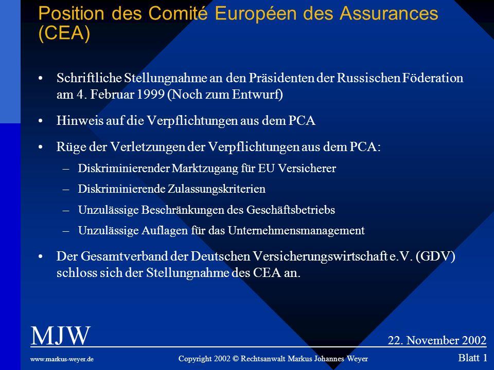 Position des Comité Européen des Assurances (CEA)