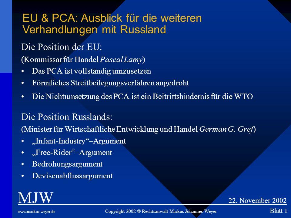 EU & PCA: Ausblick für die weiteren Verhandlungen mit Russland
