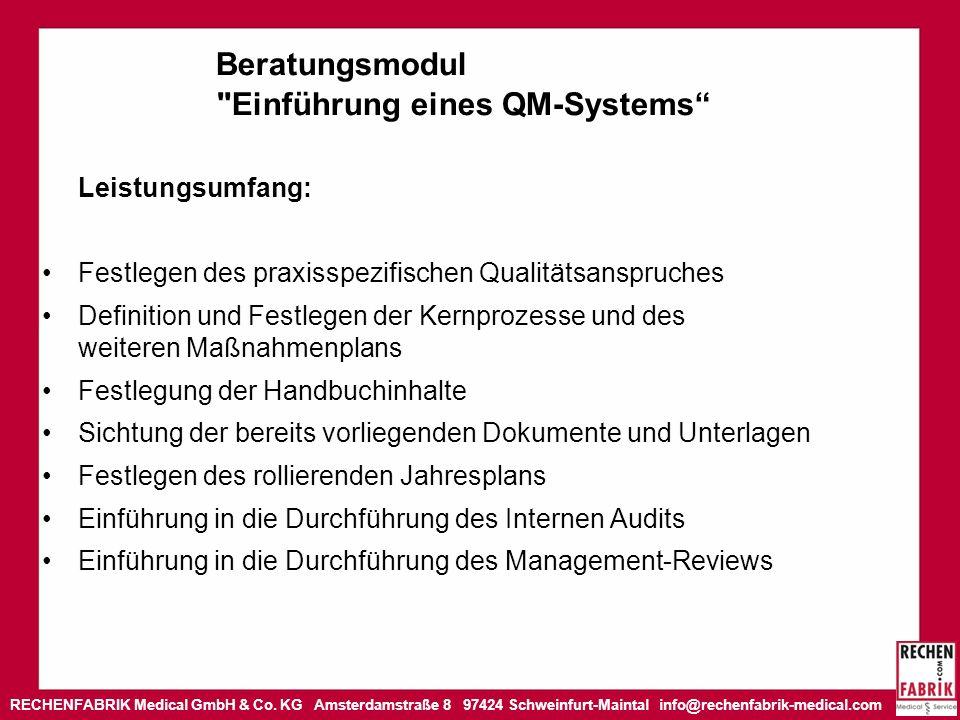 Beratungsmodul Einführung eines QM-Systems