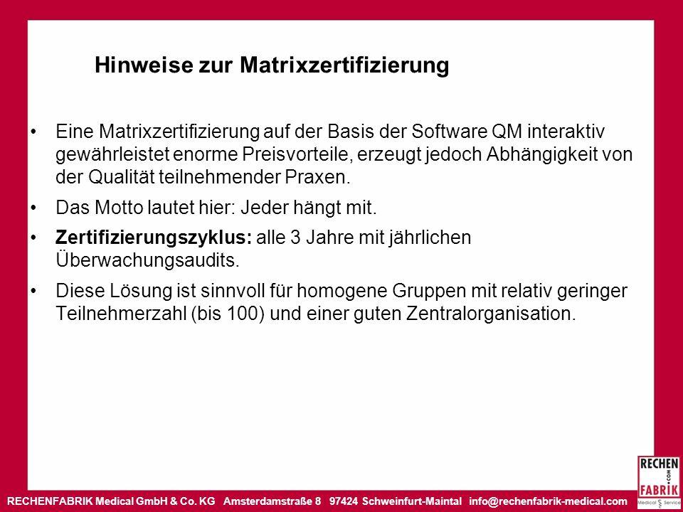 Hinweise zur Matrixzertifizierung