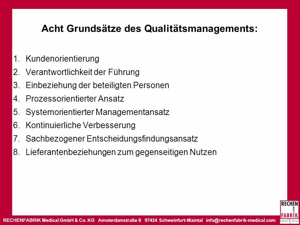 Acht Grundsätze des Qualitätsmanagements: