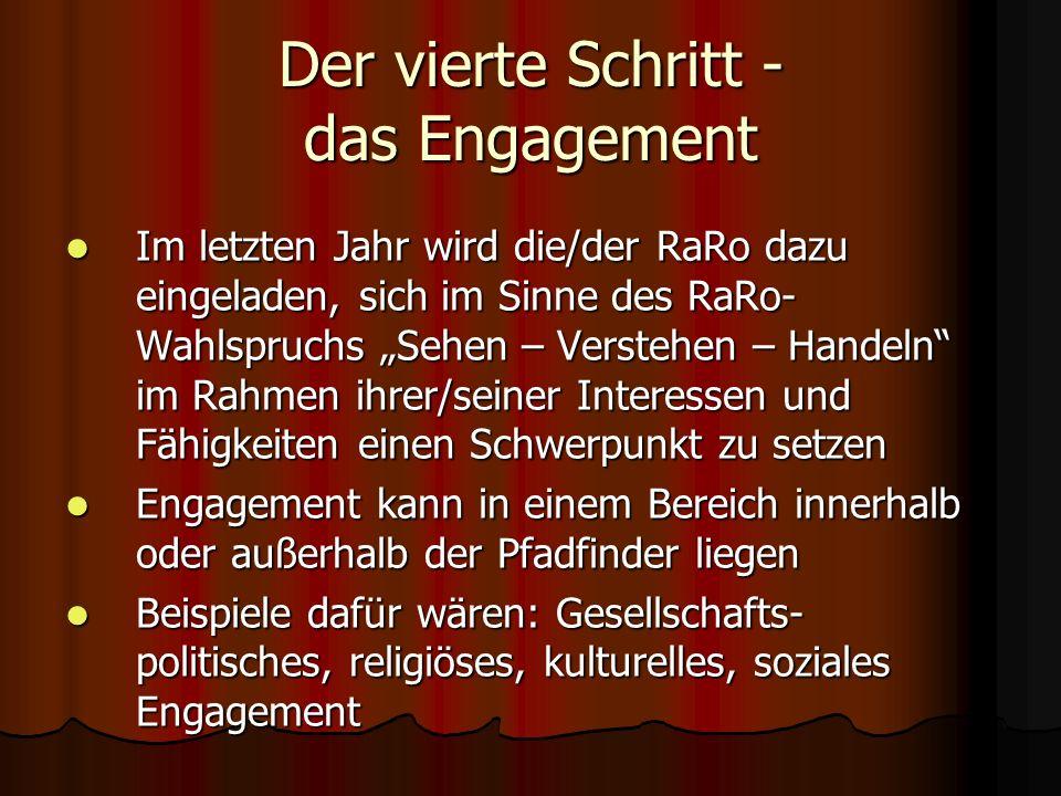 Der vierte Schritt - das Engagement