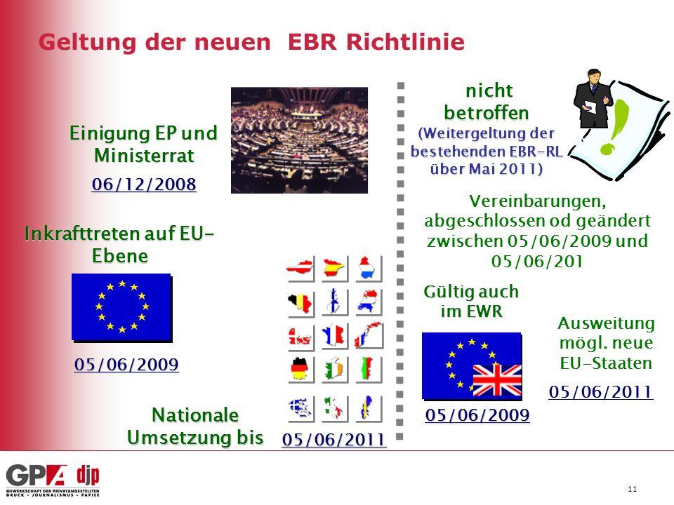 Geltung der neuen EBR Richtlinie