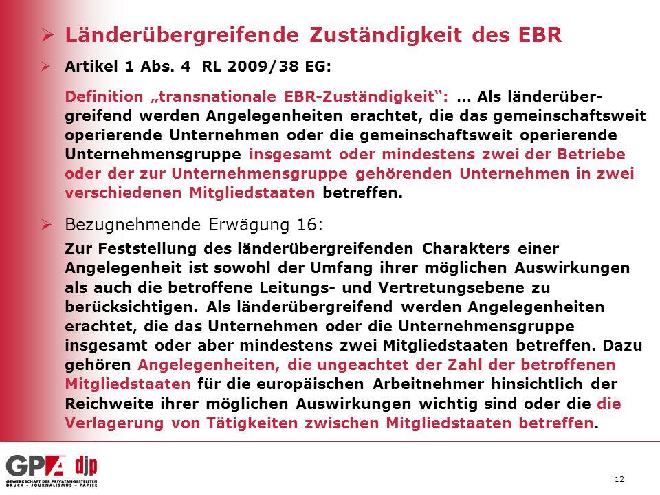 Länderübergreifende Zuständigkeit des EBR