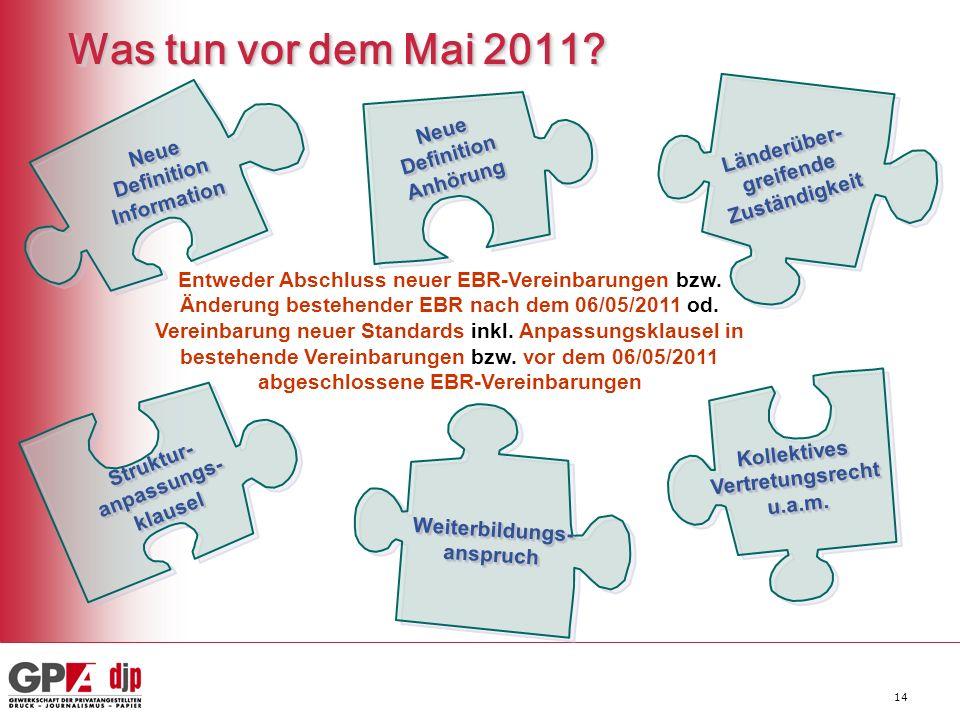 Was tun vor dem Mai 2011 Neue Definition Anhörung