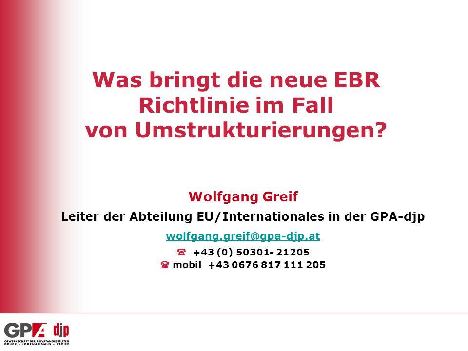 Was bringt die neue EBR Richtlinie im Fall von Umstrukturierungen